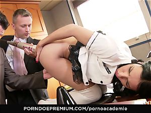 porn ACADEMIE- blonde college girl with ponytails boinked