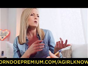 A female KNOWS - super-sexy all girl blondes dildo activity