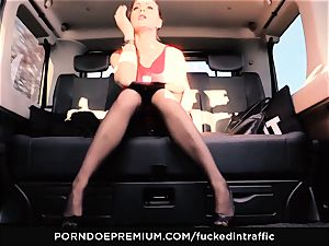 humped IN TRAFFIC - Footjob and car romp with Tina Kay