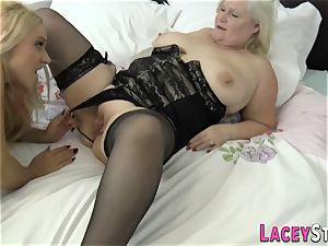 girl-on-girl grandmother eats vag