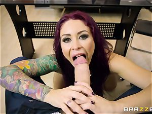 Mature tattooed assistant Monique Alexander with gigantic orbs entices her manager and bj's his bone