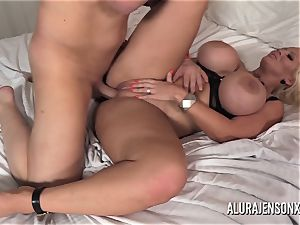 giant titty cougar Alura Jenson has her cock-squeezing cooter punctured