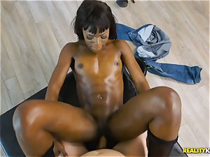 insatiable black sweetie Ana Foxxx arrives as a cop and rams the manstick of Jessie in her minge