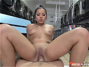 Caught on camera in the laundrette with sumptuous honey Morgan lee