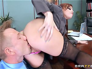 ginger-haired boss Britney Amber pokes a wild employee