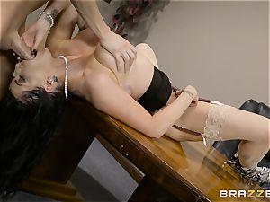 nasty brown-haired Romi Rain boned in her cock-squeezing fuckbox