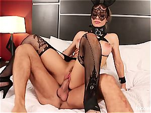 big-titted blondie Nicole is dominated