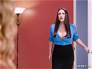 huge-chested office three way