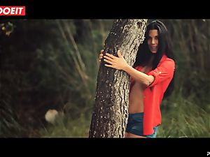 LETSDOEIT - ultra-kinky dark haired Caught Running in the forest
