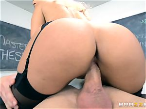 lecturer Bridgette B gets her college girl to cum on her big-boobed bosoms