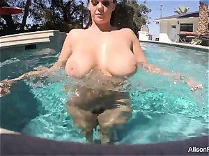 bootylicious Alison swims and milks in the pool