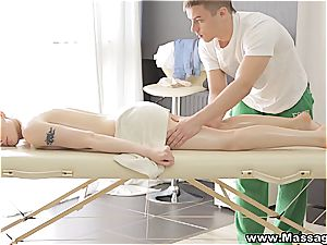 lubed up angelic nubile gets to blow the masseur's manmeat