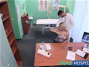 FakeHospital big-boobed Russian babe gulps cumload