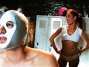 huge-chested dark-haired Capri smashes an aspiring luchador