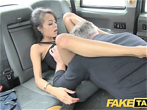 fake taxi cool youthfull ebony female in gimp outfit