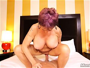 chesty Russian GILF splashes all over man meat