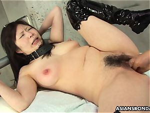 japanese suffers raunchy frigging and a nip torment