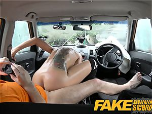 faux Driving school ebony haired european stunner with Glasses