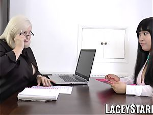 LACEYSTARR - business GILF tongue probes young pussy