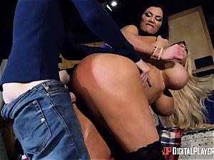 Monster meatpipe slides into Jasmine Jae and Nicolette Shea