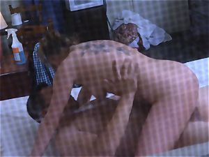 Brianna chocolate-colored caught on spy webcam as she pulverizes