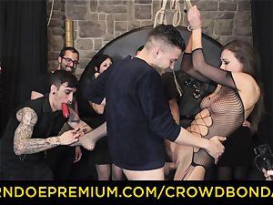 CROWD bondage - extreme bondage & discipline nail wheel with Tina Kay