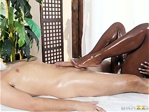 Kerian Lee inserts his greased pecker into steamy black stunner Ana Foxxx
