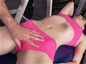 Gym honey Casey Calvert enjoying her workout