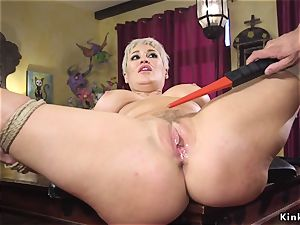 blond milf in restrain bondage tough smashed