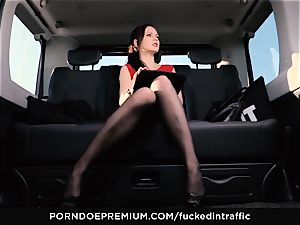 screwed IN TRAFFIC Tina Kay footjob in the backseat