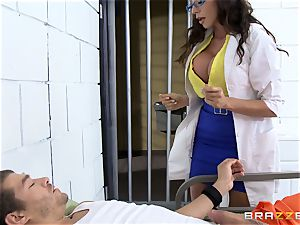 stunning jail physician Ariella Ferrera jerks off her patient