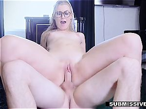 molten blond plays a bad doll at the office and gets spanked