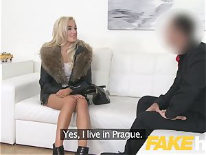 fake Agent euro lady enjoys giving orb jack and blow-job