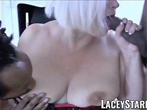 LACEYSTARR - big black cock dual crew works on naughty grandma
