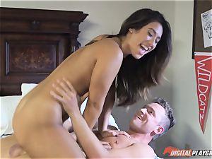 beautiful dark-haired Eva Lovia wedged from the rear