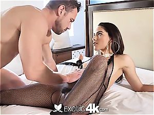 Latina Adrian Hush gets trussed onto the sofa in nothing but a fishnet
