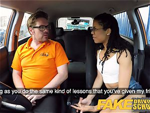 fake Driving college ebony american minx Kira Noir
