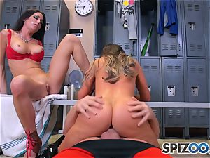 Nikki Benz and Jessica Jaymes nail knob in the locker room