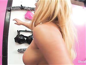 buxomy towheaded Shyla Stylez is pretty and pink