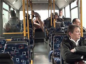 Lindsey Olsen pummels her fellow on a public bus