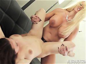 Alura Jenson puss crammed with strap on dildo powerful bulky damsel Brandi May