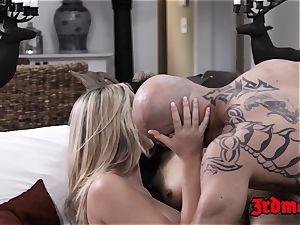 Pretty asian sitter boinked in three-way with Mr and Mrs
