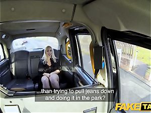 fake cab platinum-blonde cougar Victoria Summers porked in a cab