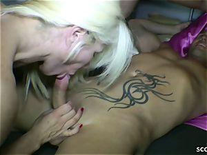 GERMAN cougar And Her STEP-SISTER seduce junior stud To boink