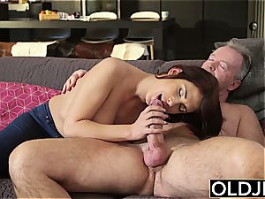 inborn young Teenie doggy-style and suck oral job