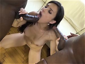 babes get interracial assfuck fuck-fest and slobber jizz in throats