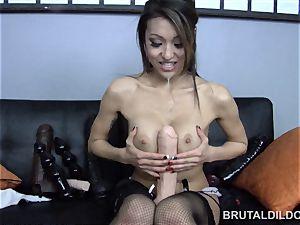 smallish chinese Jayden Lee feeding her honeypot a meaty fake penis
