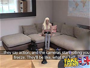 FakeAgentUK small light-haired UK call girl takes enormous massive hard-on
