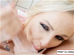 FirstClass point of view - enjoy Julia Ann deep-throating a yam-sized ginormous schlong