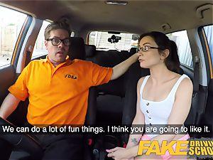 fake Driving college super-hot Italian nympho minx